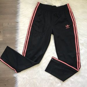 Adidas black pink side snap track pants youth XL